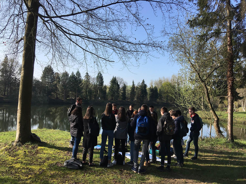 Sortie terrain à l'étange de la Pérelle avec des élèves du lycée agricole du Rheu © Cuesta