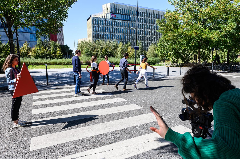 Le quartier rendu piéton temporairement, défi mis en scène par l'équipe de la SEM Plaine commune développement ©Fabrice Gaboriau